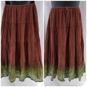 Mix Nouveau Sz M Elastic Band Skirt Brown Green